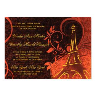 "Damask Parisienne - Fiery Punk Rock Wedding 5"" X 7"" Invitation Card"