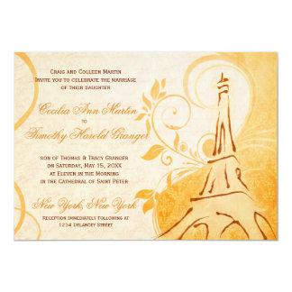"""Damask Parisienne - Marmalade & Fall Spice Wedding 5"""" X 7"""" Invitation Card"""