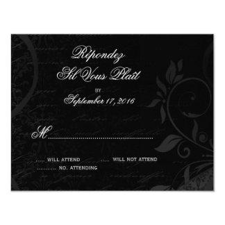 "Damask Parisienne - Midnight Black RSVP 4.25"" X 5.5"" Invitation Card"