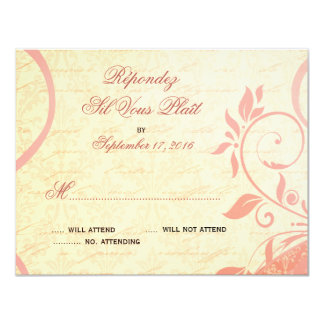 "Damask Parisienne - Pink and Cream RSVP 4.25"" X 5.5"" Invitation Card"