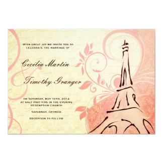 "Damask Parisienne - Pink and Cream Wedding 5"" X 7"" Invitation Card"