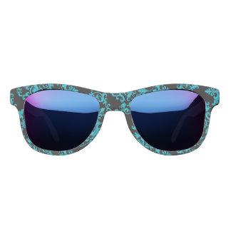 Damask pattern black blue girly sunglasses