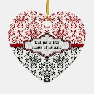 Damask pattern black red white custom ornament