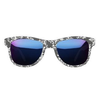Damask pattern black white girly sunglasses