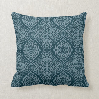 Damask Pattern Pillow - Blue and Blue