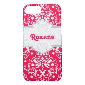Damask pattern red, white cute girly iPhone 7 case