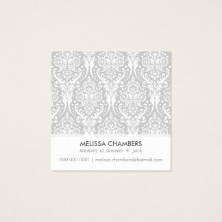 DAMASK PATTERN simple modern vintage mummy contact Square Business Card