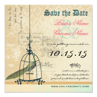 Damask Peacock Bird Cage Wedding Save the Date 13 Cm X 13 Cm Square Invitation Card