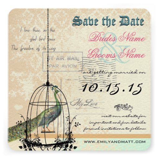Damask Peacock Bird Cage Wedding Save the Date Invitations