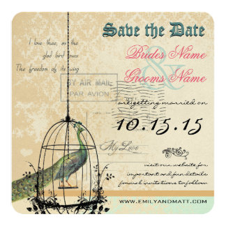 "Damask Peacock Bird Cage Wedding Save the Date 5.25"" Square Invitation Card"