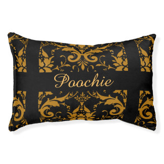 Damask personalized dog bed