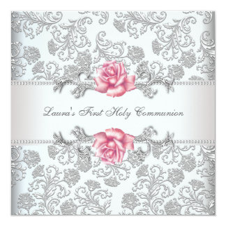 Damask Pink Rose Girls First Communion Card