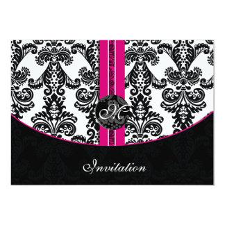 damask pink wedding invitation