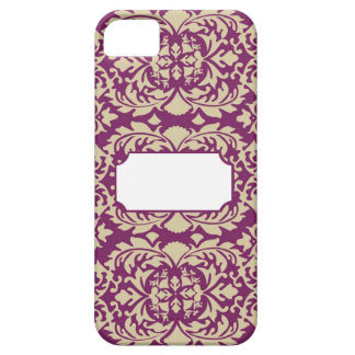 Damask Plum with Monogramming Space iPhone 5 Cover