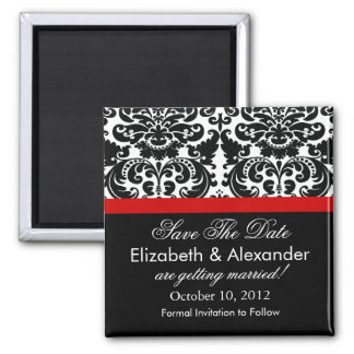 Damask Red Save The Date Magnet