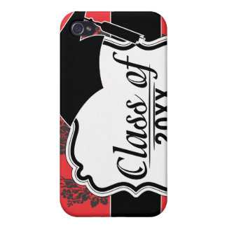 damask roses red and black graduation case for iPhone 4