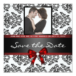 "Damask Save the Date Photo 5.25"" Square Invitation Card"