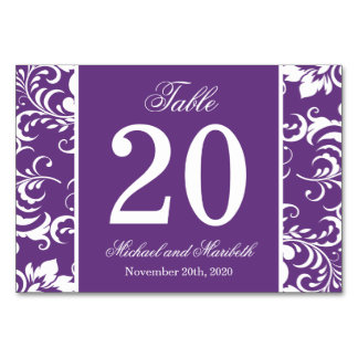 Damask Sides Table Numbers (Purple / White)