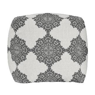 Damask Snowflakes Floor Cushion gray black