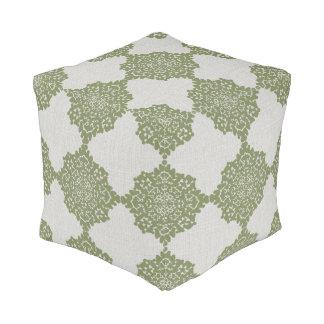 Damask Snowflakes Floor Cushion gray green