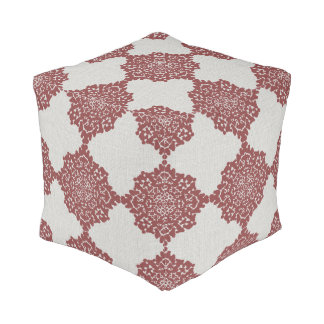 Damask Snowflakes Floor Cushion gray red