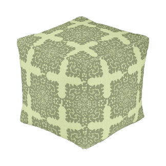 Damask Snowflakes Floor Cushion green