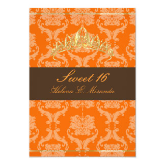 Damask Sweet 16/orange chocolate tiara/diy colors 13 Cm X 18 Cm Invitation Card