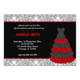 Damask Sweet Quinceanera 13 Cm X 18 Cm Invitation Card