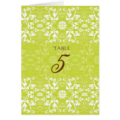 Damask Swirls Lace Lime Green Wedding Table Card