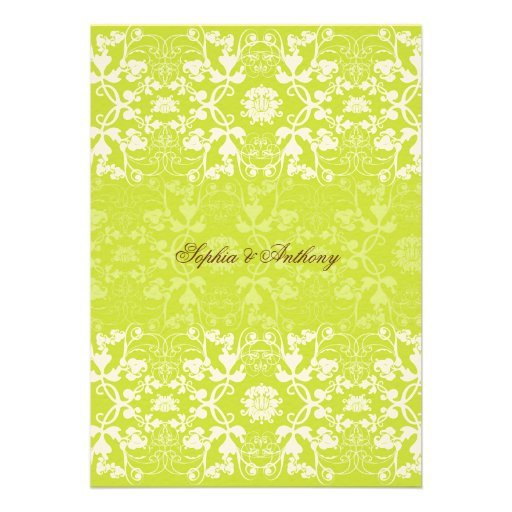 Damask Swirls Lace Lime Wedding Invitation Invitations