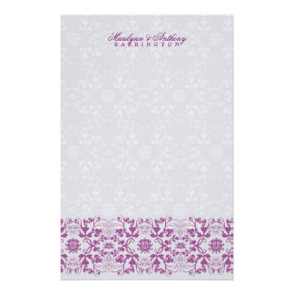 Damask Swirls Lace Orchid Thank You Stationery