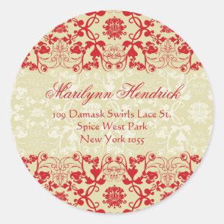 Damask Swirls Lace Spice Address Label Sticker
