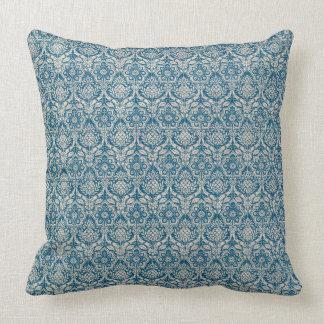 Damask Teal Blue Pattern Cushion