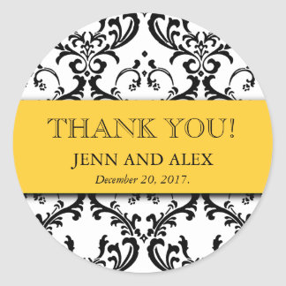Damask Thank You Wedding Stickers Favours Yellow