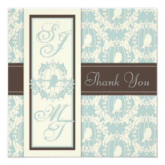 Damask Tweets TY Square 13 Cm X 13 Cm Square Invitation Card