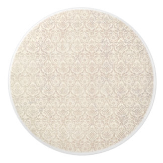 Damask Vanilla Pattern Ceramic Knob