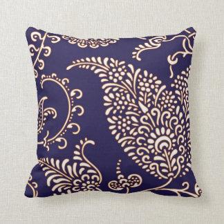 Damask vintage paisley girly floral navy pattern cushion