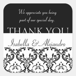 Damask Wedding Favour Thank You Label Black Square