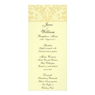 Damask Wedding Menu - Color Select Full Color Rack Card