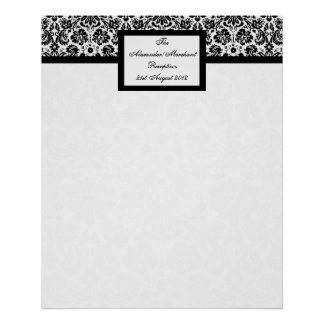 Damask Wedding Table Seating Arrangement Chart Poster