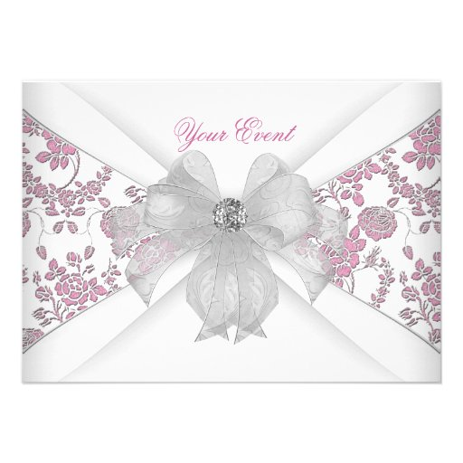 Damask White Pink Floral Jewel Bow Party Invitation