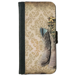 Damask wildflower Western country cowboy boots iPhone 6 Wallet Case