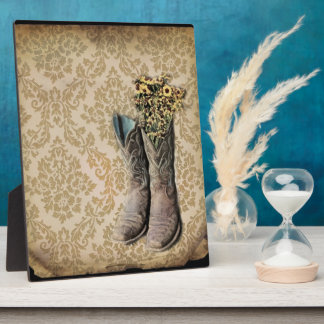 Damask wildflower Western country cowboy boots Plaque
