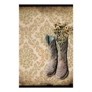 Damask wildflower Western country cowboy boots Stationery