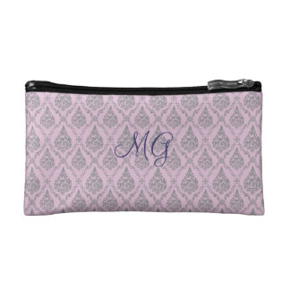 Damask with monogram cosmetic bags