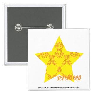 Damask Yellow-Orange 3 15 Cm Square Badge