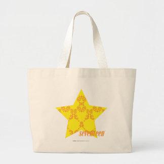 Damask Yellow-Orange 3 Large Tote Bag