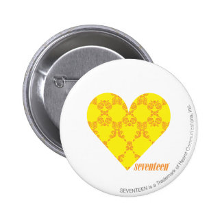 Damask Yellow-Orange 4 6 Cm Round Badge