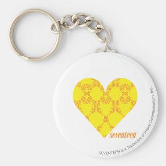 Damask Yellow-Orange 4 Basic Round Button Key Ring