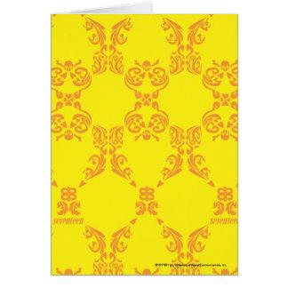 Damask Yellow-Orange Greeting Card